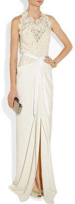 Roland Mouret Hexam draped lace and crepe gown