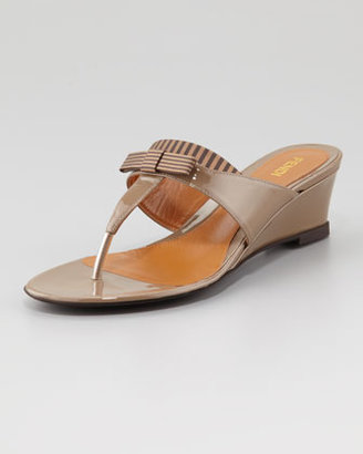 Fendi Striped Fabric-Patent Wedge Thong Sandal, Taupe