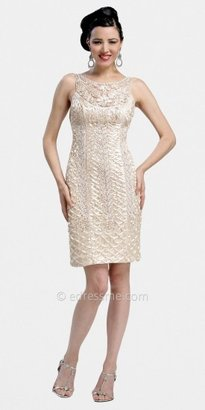 Sue Wong Sleeveless Scalloped Sheath Cocktail Dresses