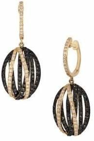 Effy 14K Yellow Gold, 1.43 TCW Black Diamond Diamond Drop Earrings