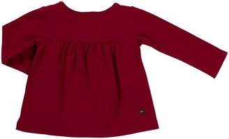Tea Collection L/S Diagonal Ruffle Top - China Red-6-12 Months