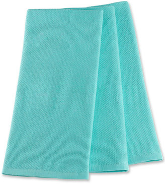 Martha Stewart Collection Pique Kitchen Towels Set of 3, Aqua