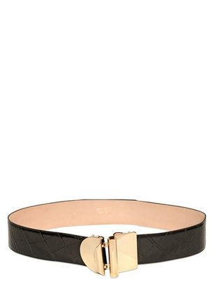 Emilio Pucci 50mm Croco Leather High Waist Belt