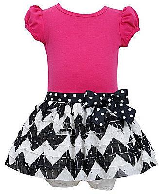 Bonnie Baby 12-24 Months Solid/Chevron-Print Dress & Panty Set