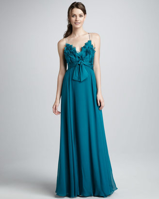 Phoebe Couture V-Neck Ruffle Gown