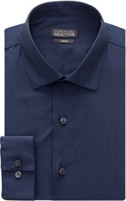 """Kenneth Cole Reaction Kenneth Cole Men's Chambray Slim Fit Solid Spread Collar Dress Shirt Blue 15"""" Neck 32""""-33"""" Sleeve"""