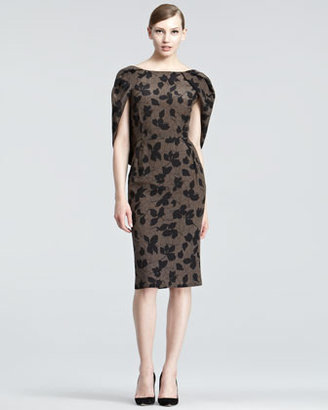 Nina Ricci Draped Leaf-Print Dress