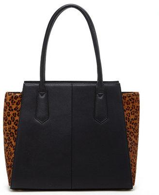 Susu Handbags - The Jody - Two Tone Black Leather Animal Print Tote