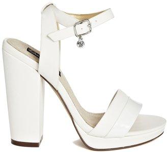Blink Platform Ankle Strap Heeled Sandals - White