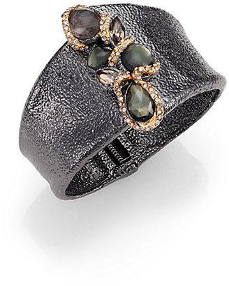 Alexis Bittar Elements Dark Phoenix Pyrite, Black Moonstone & Crystal Cuff Bracelet
