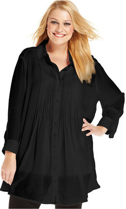 Alfani Plus Size Top, Three-Quarter-Sleeve Pintucked Tunic