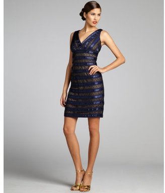 Carmen Marc Valvo navy swiss dotted lace and beaded grosgrain banded dress