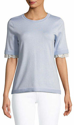 Karl Lagerfeld PARIS Lace-Trimmed Bow Short-Sleeve Sweater