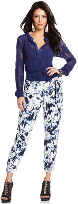GUESS Pants, Floral-Print Cropped