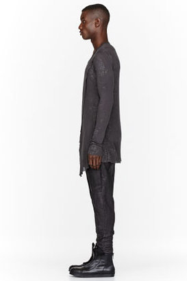 Julius Charcoal Speckled Layered Draped Fraise Shirt