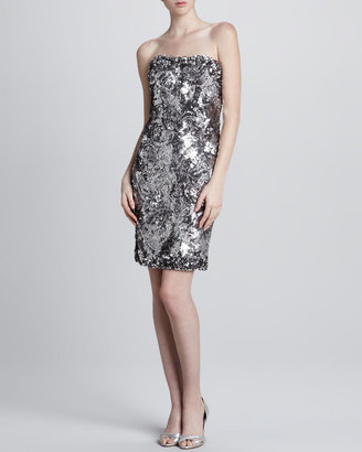 Marchesa Strapless Sequined Cocktail Dress