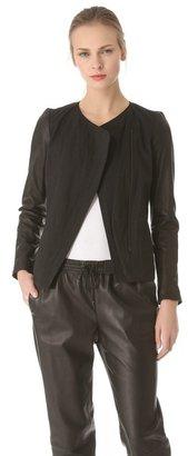 Vince Leather Sleeve Linen Jacket
