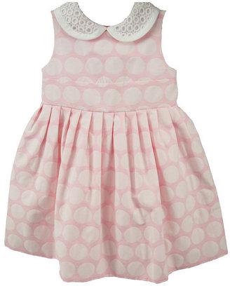 Simonetta Pink Polka Dot Jacquard Dress with Eyelet Collar