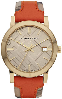 Burberry Men's Watch with Haymarket Check & Orange Leather Strap