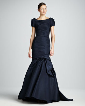 Monique Lhuillier Ruched Trumpet Gown with Bolero Jacket, Navy