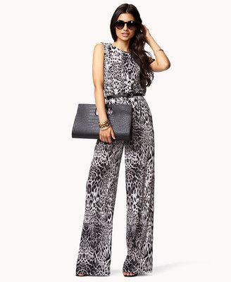 Forever 21 Leopard Print Satin Jumpsuit w/ Belt