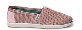 Toms Pink academy plaid youth classics