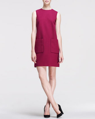 Victoria Beckham Victoria by Brushed Patch-Pocket Shift Dress