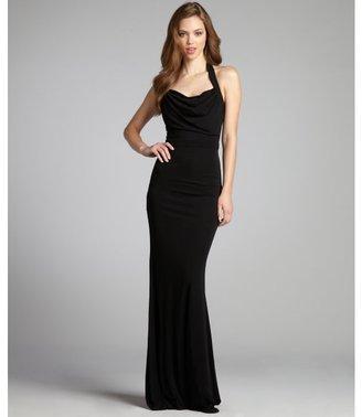 ABS by Allen Schwartz black halter drape neck gown
