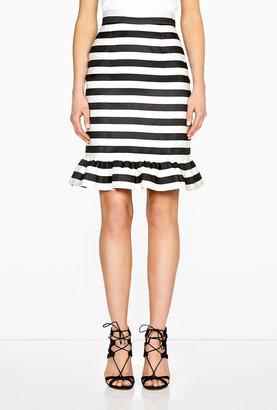 Mother of Pearl Bella Jacquard Silk Stripe Frill Skirt