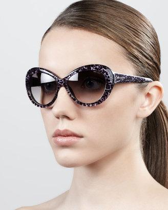 Jimmy Choo Valentina Panther-Print Oversized Oval Sunglasses, Gray