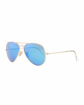 Ray-Ban Aviator Sunglasses with Flash Lenses, Gold/Blue Mirror $175 thestylecure.com