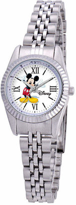 Character Disney Status Womens Mickey Mouse Silver-Tone Metal Bracelet Watch