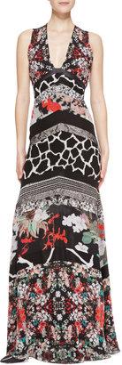 Roberto Cavalli Patchwork Tiered Sleeveless Silk Gown