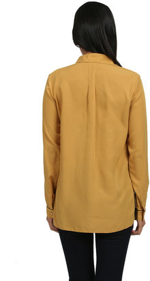 Zoa Twill Combo Button Up Shirt in Mustard