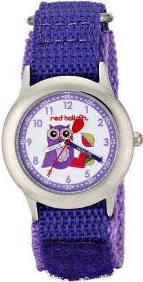 EWatchFactory Red Balloon Kids' W000333 Love Owl Stainless Steel Time Teacher Purple Velcro Strap Watch