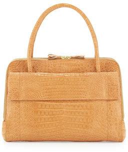 Nancy Gonzalez Crocodile Zip Work Satchel Bag, Beige