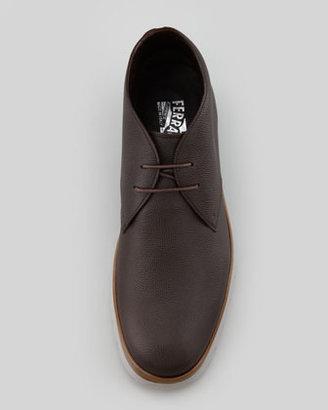 Salvatore Ferragamo Pebbled Leather Chukka Boot, Brown