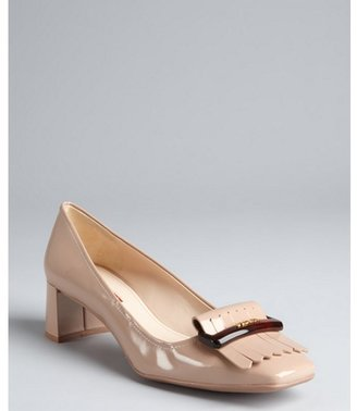 Prada Sport nude patent leather loafer style square toe pumps