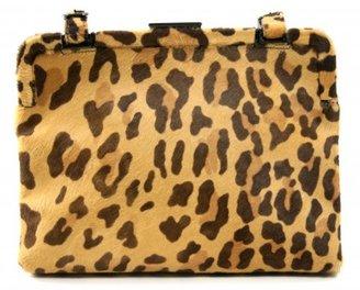 Prada very good (VG Leopard Calf Hair Framed Satchel