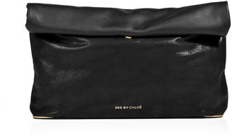 See by Chloe Black Leather Roll-Over Clutch