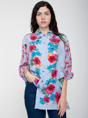 American Apparel Vintage Mixed Floral Prints Silk Button-Up Blouse