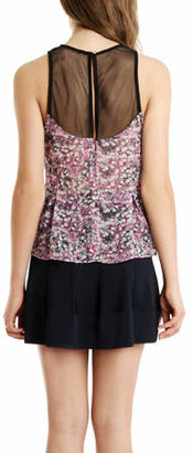 Charlotte Ronson Floral Mesh Top