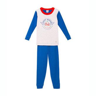 Petit Bateau Boy's Snug Fit Cotton Long Pajamas With Silkscreen Print