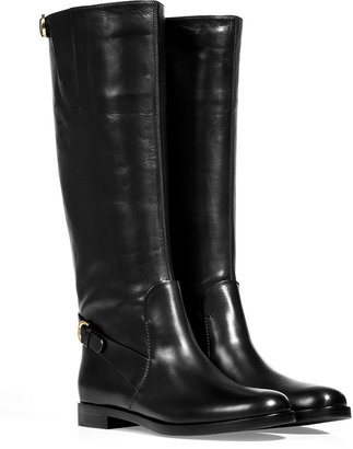 Sergio Rossi Black Calf Leather Boots with small Buckle Detail