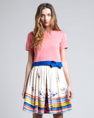 RED Valentino Printed A-Line Skirt, Blue/Multicolor