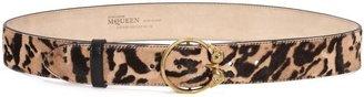 Alexander McQueen Leopard Pony Double Skull Buckle Belt