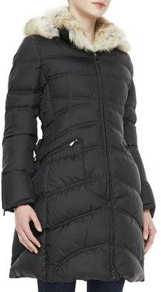 Dawn Levy Cloe Fur-Trim Mid-Length Puffer Coat
