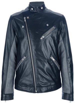 Moschino checked panel biker jacket
