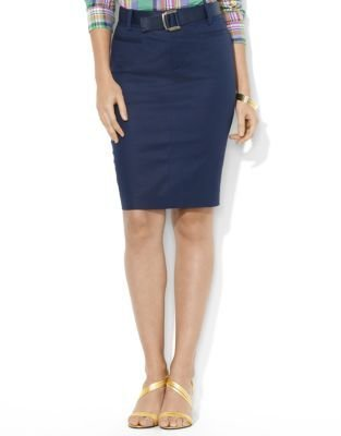 Lauren Ralph Lauren Belted Stretch-Cotton Pencil Skirt