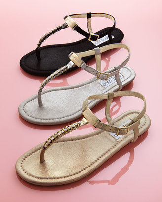 Jimmy Choo Nox Flat Crystal Thong Sandal, Silver